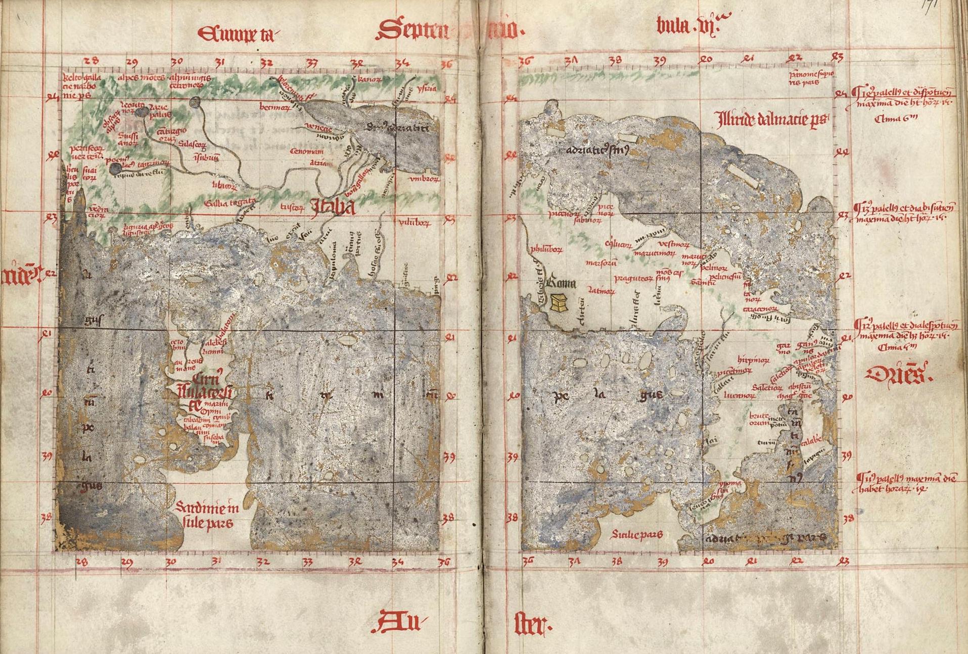 Carte de l'Italie. La Cosmographie de Claude Ptolemée, 1401-1500, ouvrage manuscrit (BmN, ms 354)