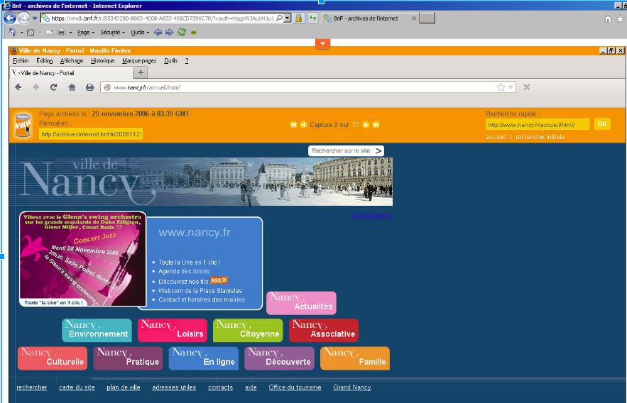 Le site web de la ville de Nancy en 2006