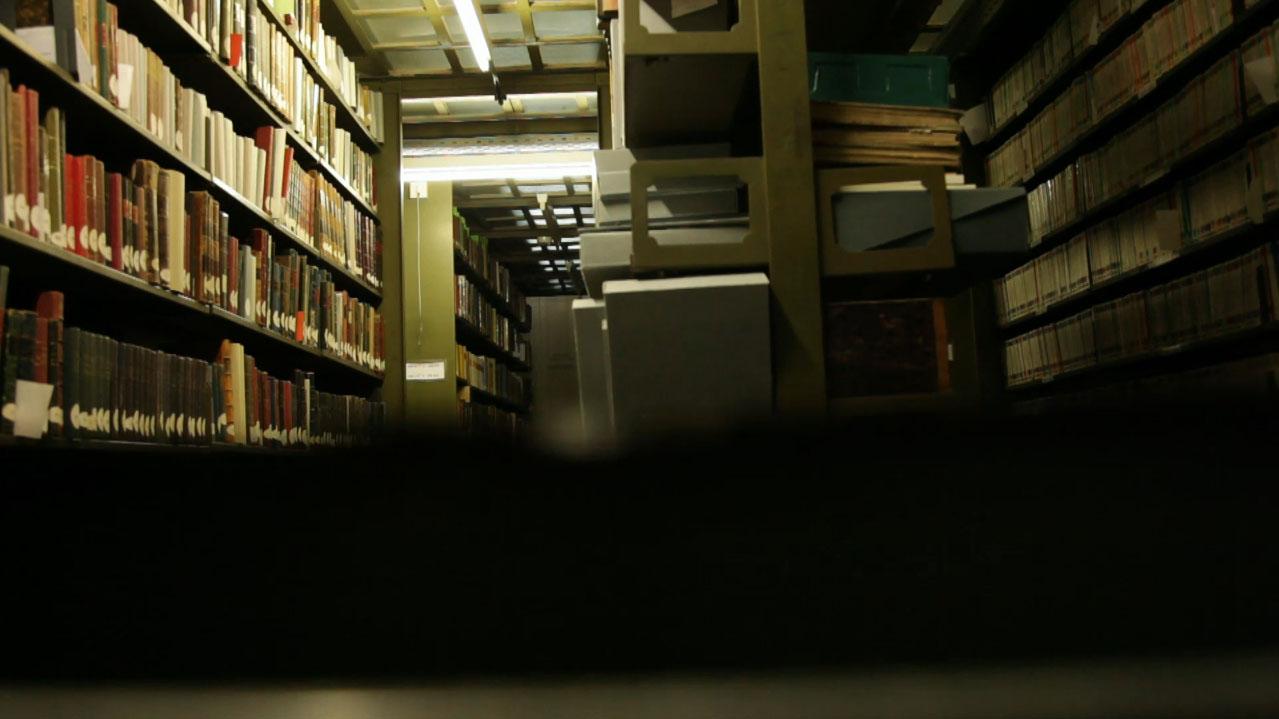 Vue subjective du monte-charge (photogramme tiré de la vidéo)