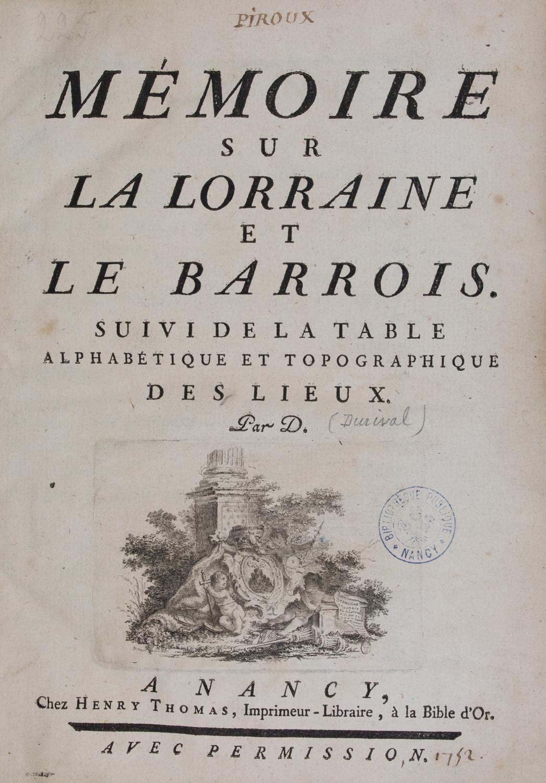 Page de titre, Durival, Mémoire sur la Lorraine et le Barrois