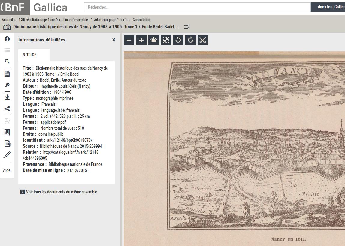 Notice détaillée d'un livre sur Gallica