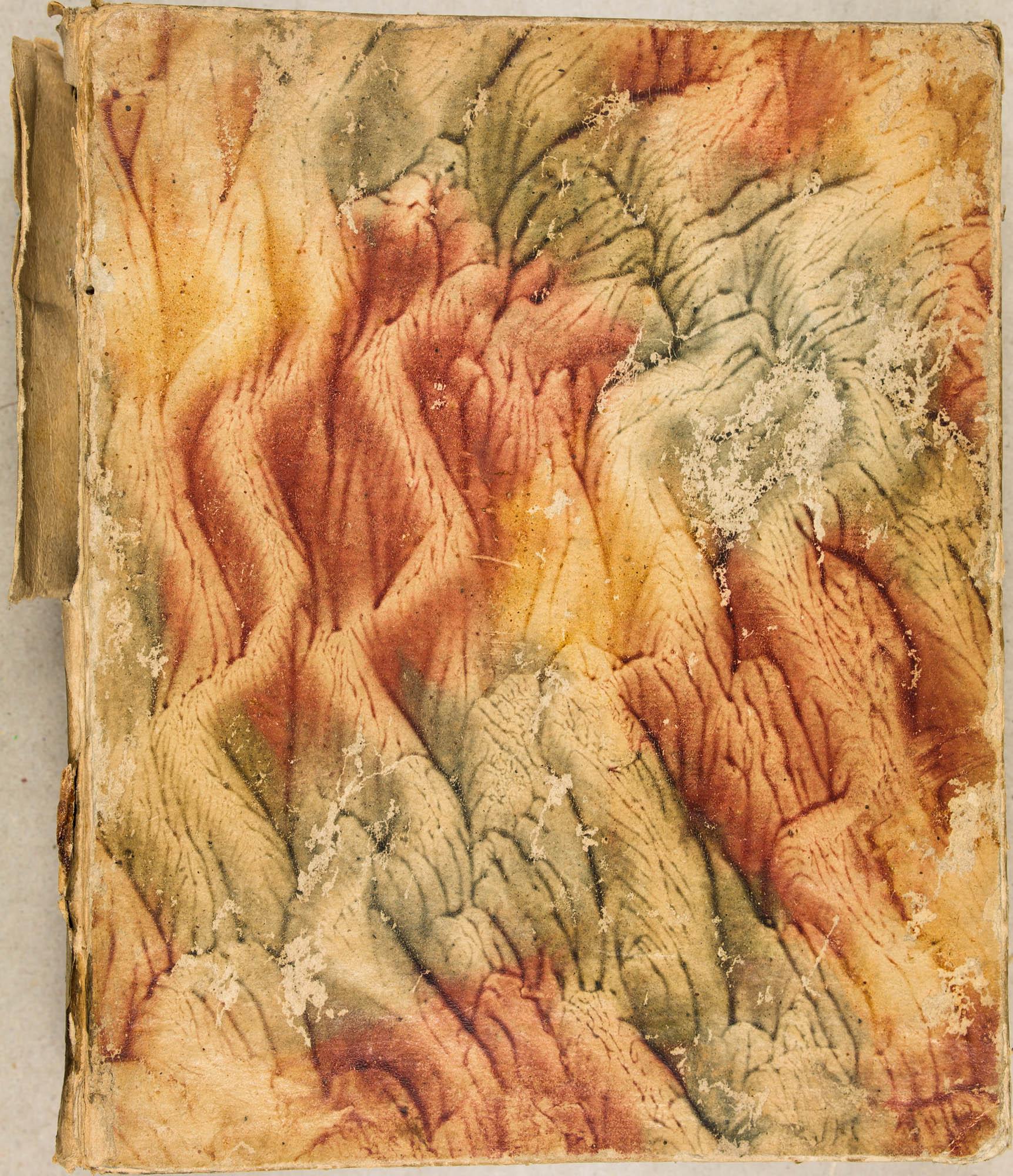 Papier tiré, décor à la colle de style nuée. XVIIIe s.
