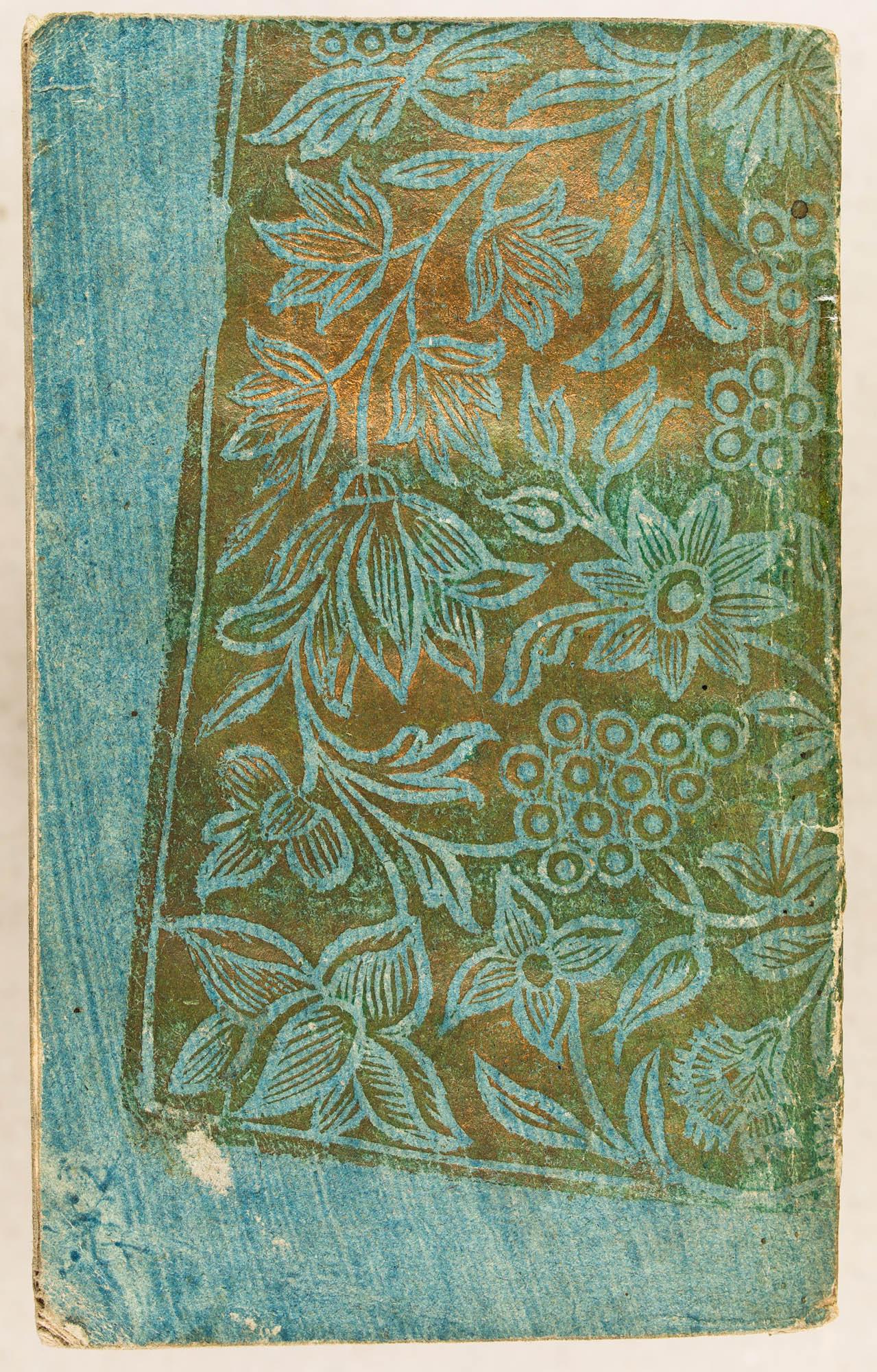 Doré gaufré imprimé en négatif sur papier bleu, imprimé de guingois. XVIIIe s.