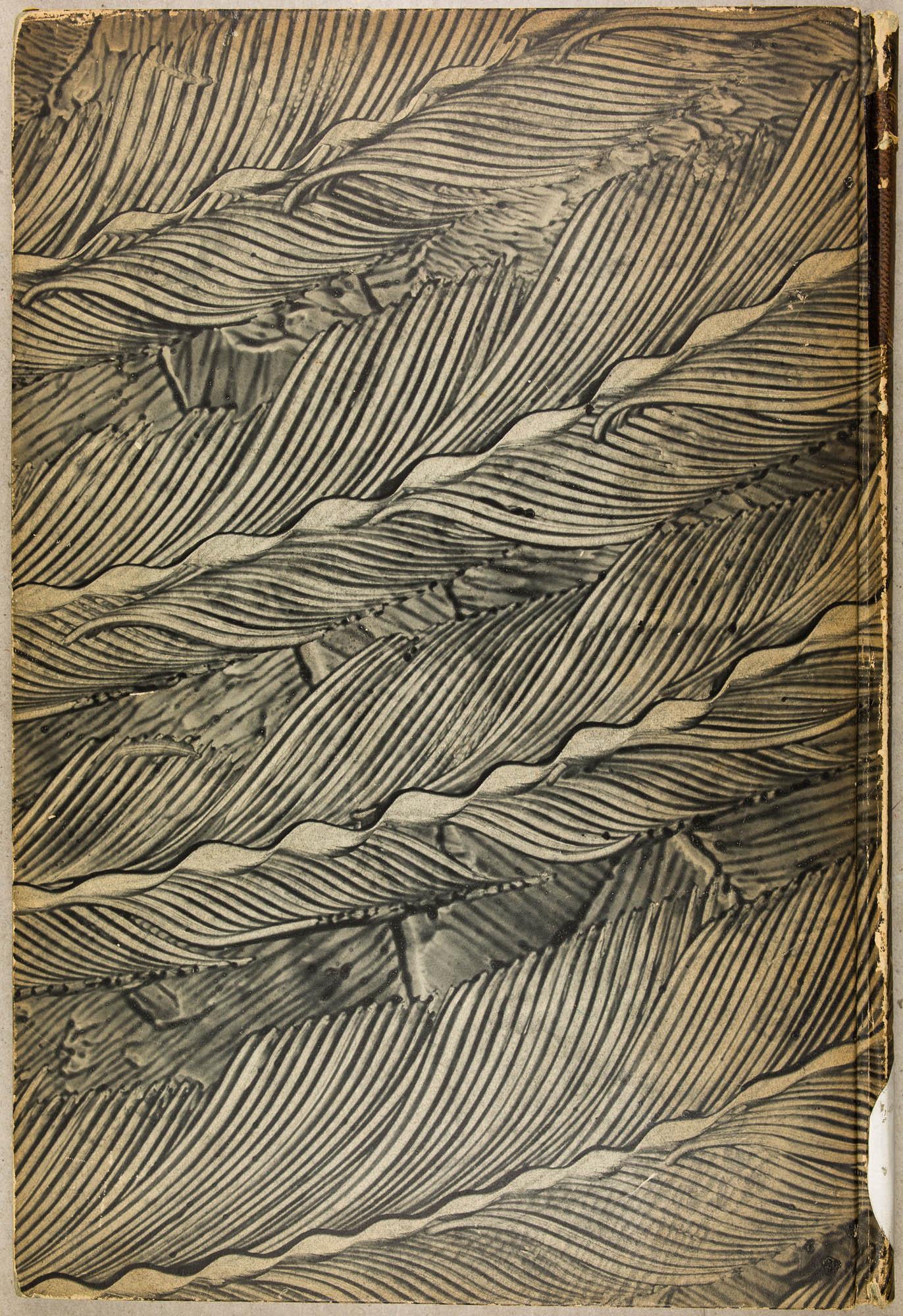 Décor à la colle avec pigments noirs, dessiné au peigne, effet plume, réalisé par René Wiener après 1895.