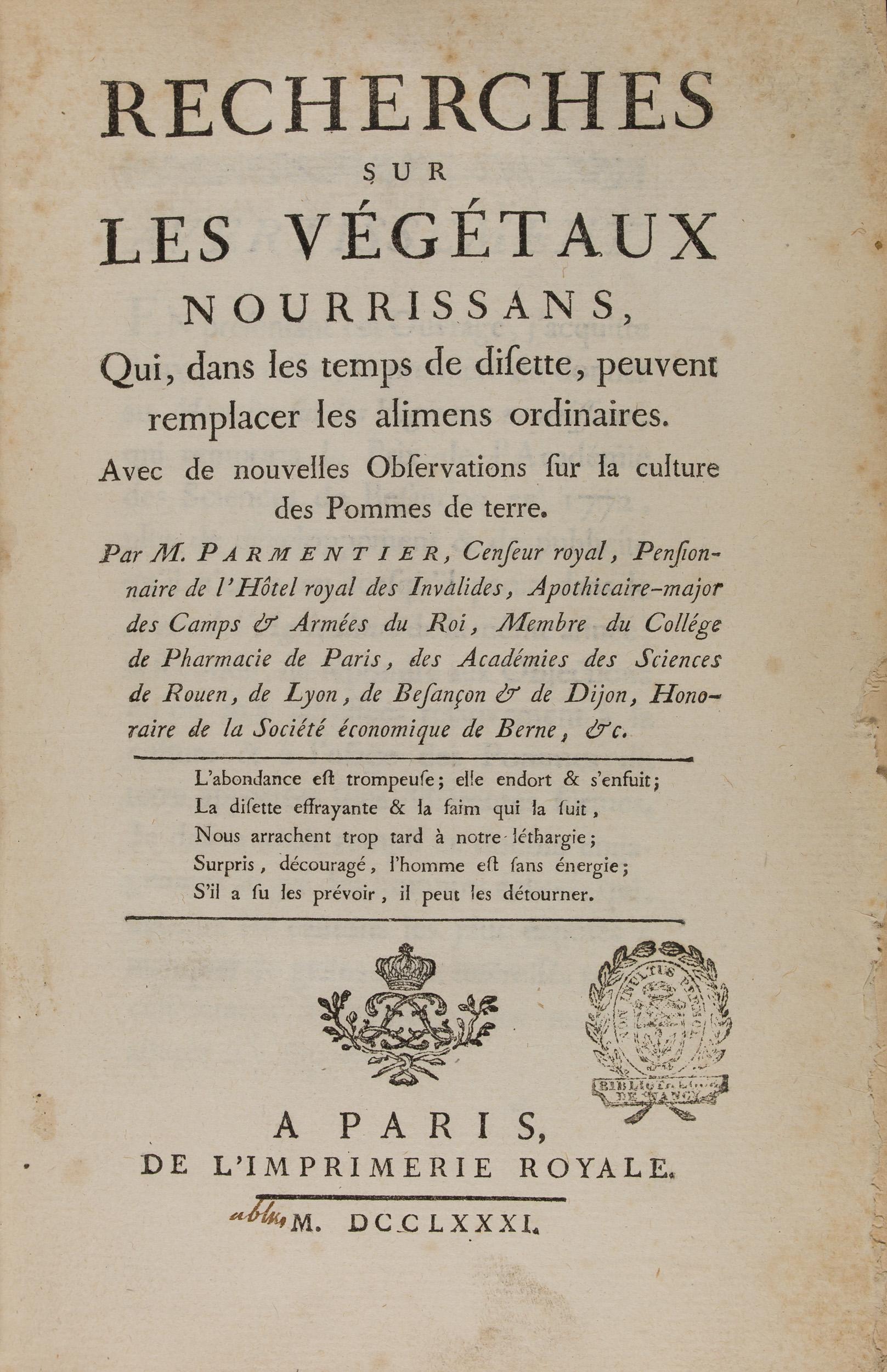 Recherche sur les végétaux nourrissans..., Parmentier, 1781 (303 209)