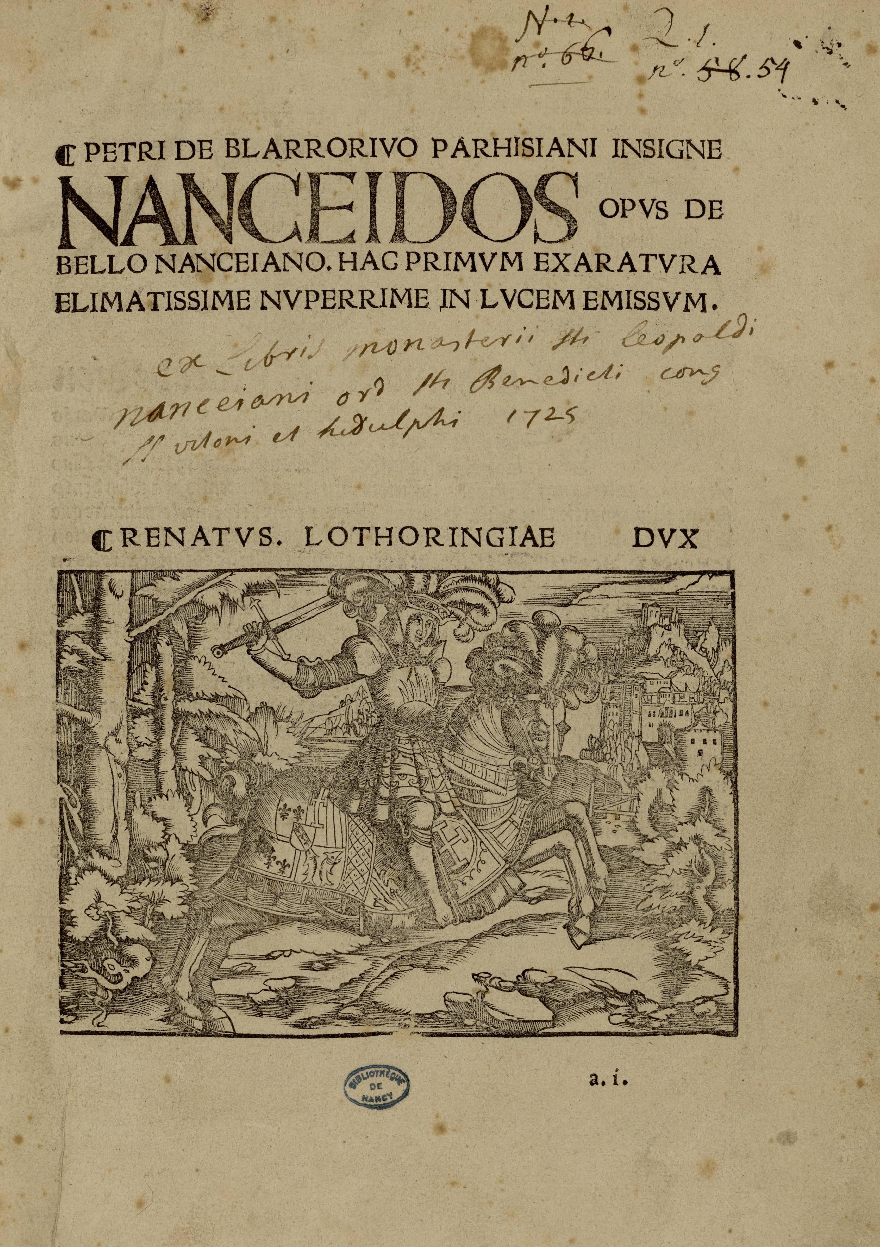 Page de titre de la Nancéide