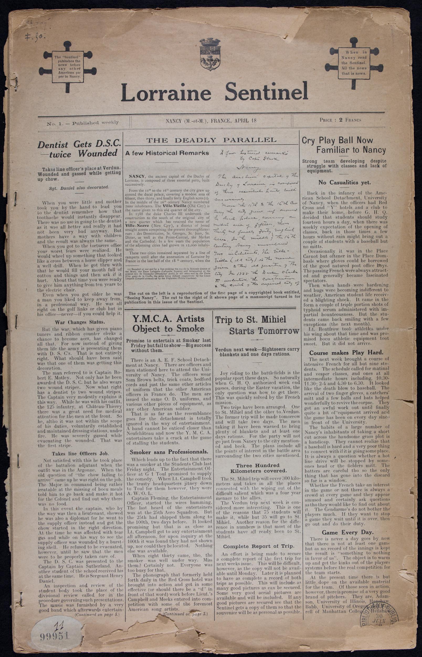 Nancy, 18 avril-13 juin 1919 (13 numéros). Cote 99 951 (11)