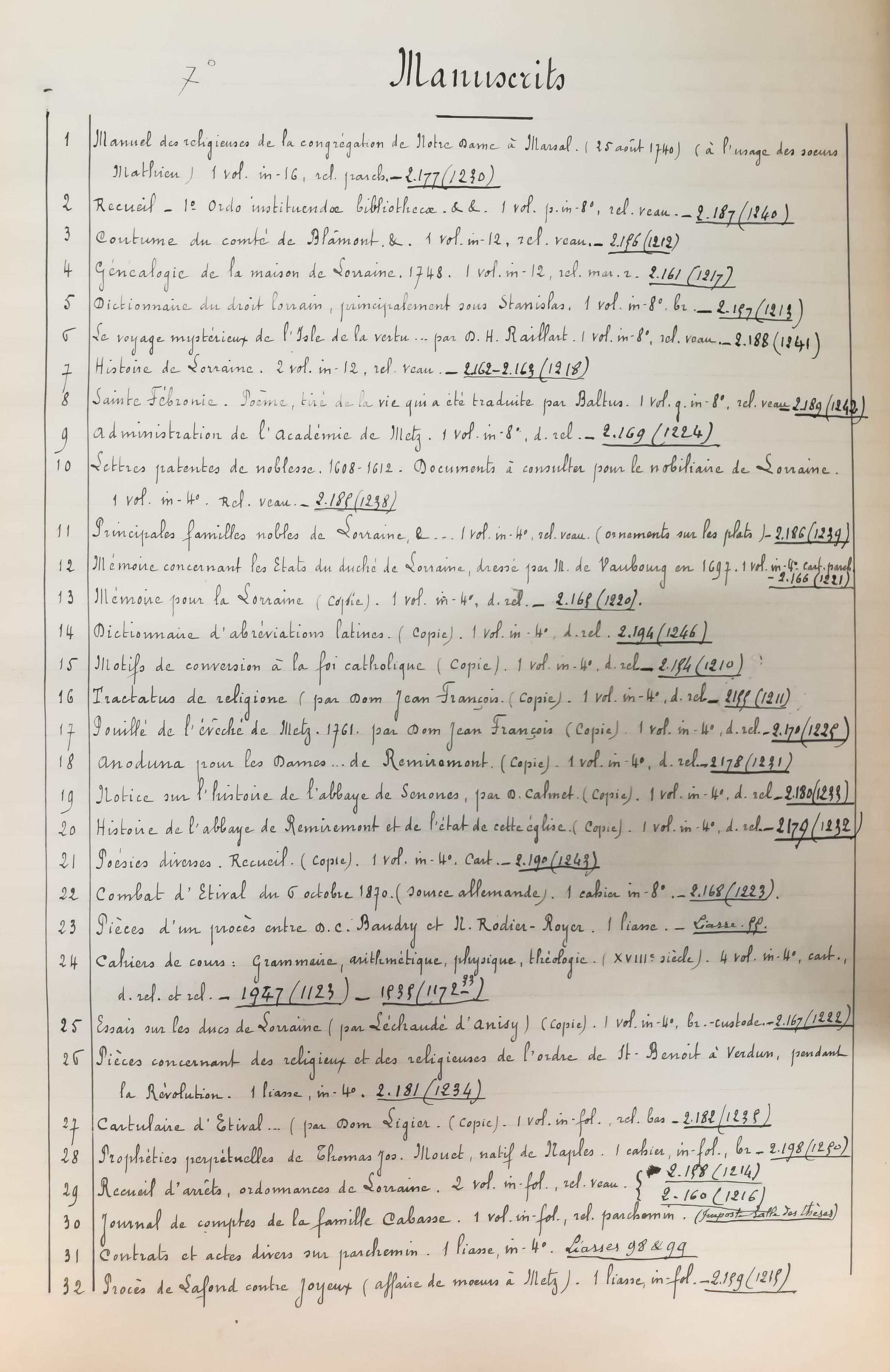 Registre des documents laissés en dépôt à la Bibliothèque Nationale