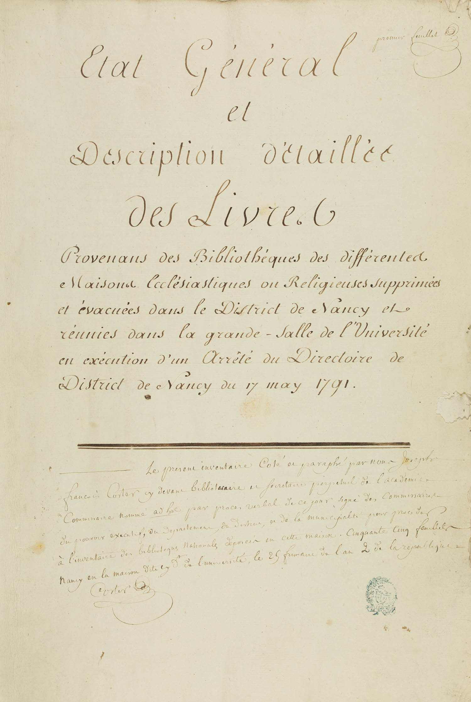 Inventaire des saisies révolutionnaires BM Nancy, page de titre