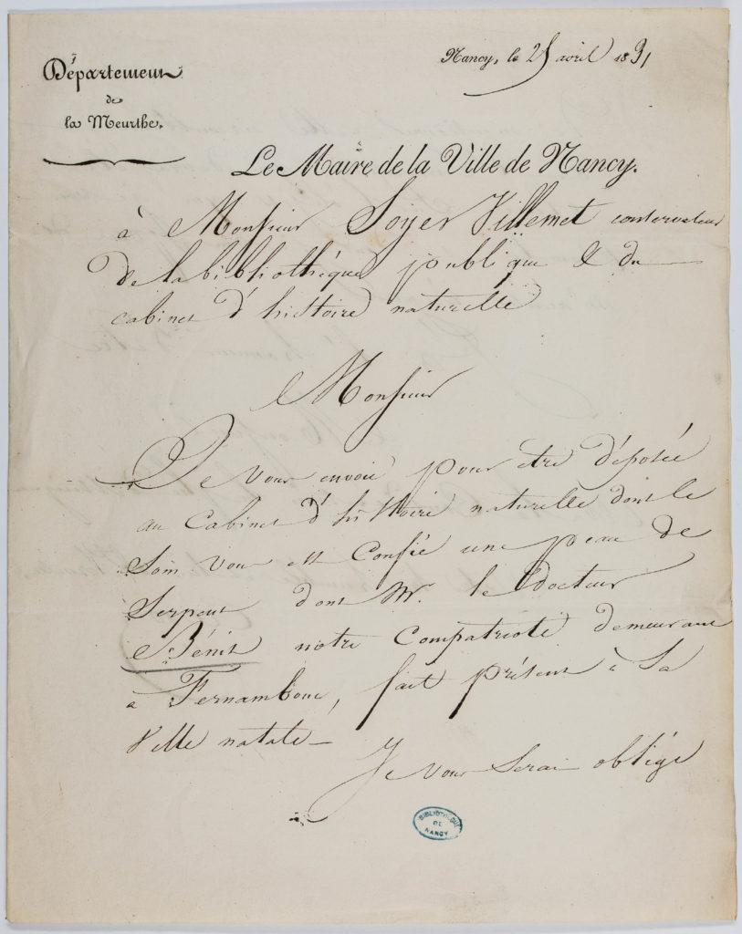 Lettre du maire de Nancy à Soyer-Willemet